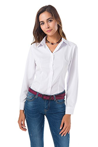 Atnlewhi Womens Basic Long Sleeve Button Down Shirts Simple Pullover Stretch Formal Casual Shirt ()