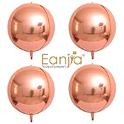 """Hangable Rose Gold 4 Count 16"""" 4D Large Round Helium Balloons Sphere Aluminum Foil Balloon Mirror Metallic Silver Balloon Birthday Party Wedding Baby Shower Decor Supplies Eanjia(Rose Gold, 16"""")"""