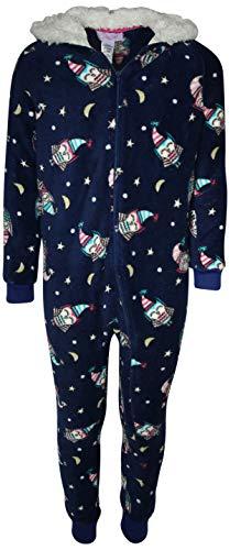 Rene Rofe Girl's Plush Fleece Onesie Pajamawith Sherpa Lined Hood, Indigo Owl, Size 7/8' -