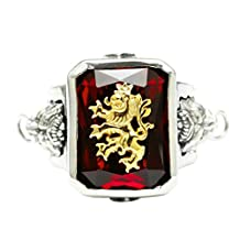 Bishilin Silver Plated Mens Ring Lion with Rectangle Red Cubic Zirconia Friendship Rings Silver