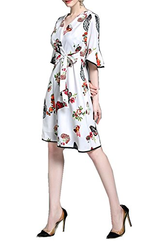 YUZHU Popular Women's Casual Butterfly Print Dresses 2017 Summer Print Fashion V-Neck A-Line Dress Knee Length with Belt - Butterfly Dress Print