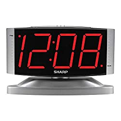 SHARP Home LED Digital Alarm Clock - Swivel Base - Outlet Powered, Simple Operation, Alarm, Snooze, Brightness Dimmer, Big Red Digit Display, Silver Case