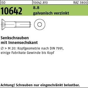 50 Inbus Senkkopfschrauben ISO 10642 8.8 verzinkt M16x35