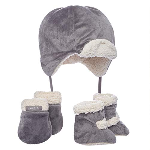 JJ Cole - Bomber Hat Set, Winter Boots, Mittens, and Hat to Keep Baby Warm and Comfortable, Graphite, 0 to 6 Months