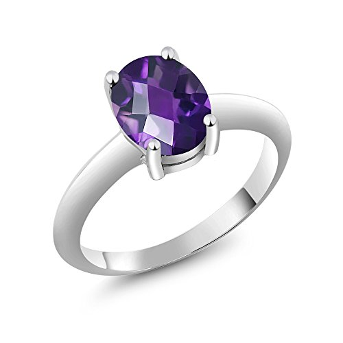 925 Sterling Silver Checkerboard Purple Amethyst Solitaire Engagement Ring 1.60 Ctw (Available in size 5, 6, 7, 8, 9)