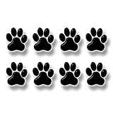 """8 PAW Prints 2"""" Dog Cat Decal Cat Puppy Foot Print Vinyl Stickers for Car Vehicle Window Or Bumper (Black w/White Outline)"""