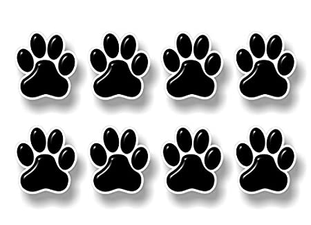 8 PAW Prints 2' Dog Cat Decal Cat Puppy Foot Print Vinyl Stickers for Car Vehicle Window Or Bumper (Black w/Cream Outline) Street Legal Decals