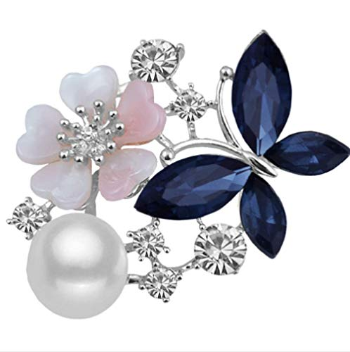 Weishu Acrylic White Pearl Imitation Blue Stone Ruby Rhinestone Bouquet Silver Plated Female Girl Scarf Brooch pin Suit Accessories (Silver White Blue)