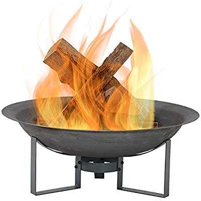 Sunnydaze Modern Fire Pit Bowl with Stand, Outdoor Wood Burning Patio Fireplace, Cast Iron, 23-Inch - LIGHTWEIGHT AND PORTABLE: Outside firepit has a 23.75 inch diameter x 8.5 inches tall; Weighs 12.4 pounds; Fire bowl measures 23.75 inch diameter x 5.5 inches deep x 3.5 millimeters thick; Stand is 6.75 inches tall; Great to take along on camping trips or backyard barbecues DURABLY BUILT: Cast iron firebowl with high-temperature paint finish for fire resistance; Stand is made of iron for strength and stability; Safely enjoy the ambiance that a wood-burning fire can add to your backyard or outdoor living space EASY TO SET UP: Bonfire pit set includes fire bowl and stand for simple assembly; Can be easily put together or taken apart; Simple assembly makes it effortless to store this fire bowl and stand for the winter or during inclement weather - patio, fire-pits-outdoor-fireplaces, outdoor-decor - 41SaNc5KsfL. SS400  -