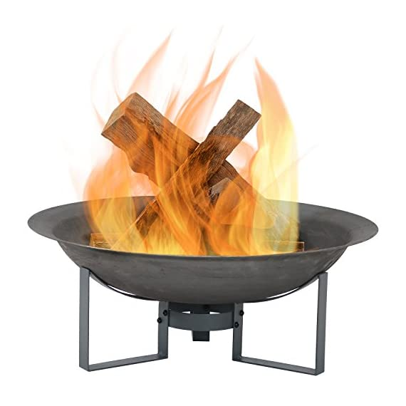 Sunnydaze Modern Fire Pit Bowl with Stand - Portable Outdoor Wood-Burning Patio Fireplace - Cast Iron Firebowl - 23-Inch - LIGHTWEIGHT AND PORTABLE: Outside firepit has a 23.75 inch diameter x 8.5 inches tall; Weighs 12.4 pounds; Fire bowl measures 23.75 inch diameter x 5.5 inches deep x 3.5 millimeters thick; Stand is 6.75 inches tall; Great to take outdoors along on camping trips, to the beach, or backyard barbecues for cooking and socialization WELL-MADE: Small cast iron firebowl cauldron with high-temperature paint finish for fire resistance; Stand is made of iron for strength and stability; Safely enjoy the ambiance that a wood-burning fire can add to your backyard or outdoor living space EASY TO ASSEMBLE: Bonfire pit set includes fire bowl and stand for simple assembly; Can be easily put together or taken apart; Simple assembly makes it effortless to store this fire bowl and stand for the winter or during inclement weather - patio, outdoor-decor, fire-pits-outdoor-fireplaces - 41SaNc5KsfL. SS570  -