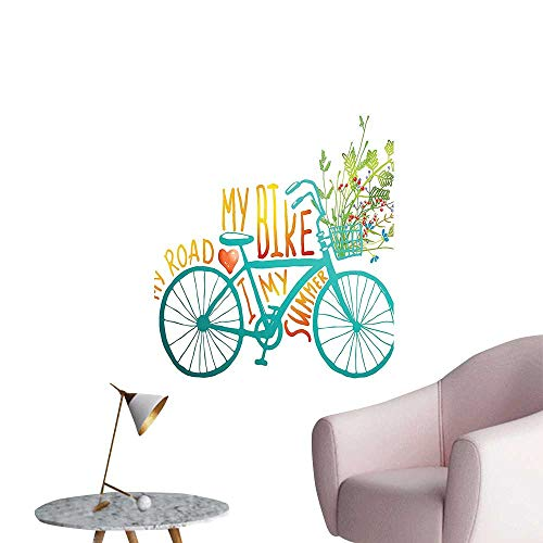 Wall Stickers for Living Room Summer Bike Cute Vehicle Human Transport Blue Yellow Vinyl Wall Stickers Print,32