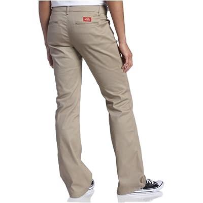 Dickies Girl Junior's College Bootcut Pant, Khaki, 1: Clothing