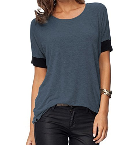(Sarin Mathews Women's Casual Round Neck Loose Fit Short Sleeve T-Shirt Blouse Tops Darkgrey M)