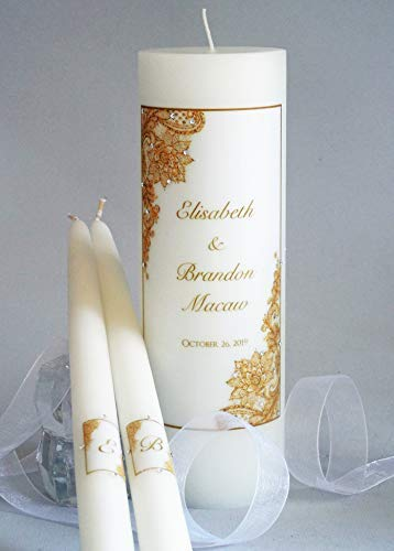 Gold Lace Wedding Unity Candles