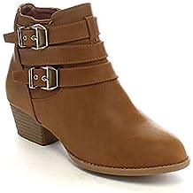 Top Moda Women's Side Zip High Block Heel Ankle Booties