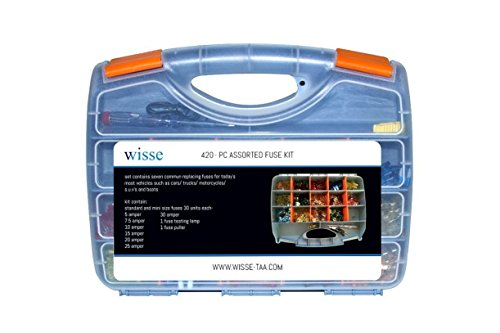 Wisse 420 Pcs Assorted Automotive Fuses Kit, Standard and Mini Blade Fuse Box Set Assortment 5A 7.5A 10A 15A 20A 25A 30A Replacement Fuse for Car Truck Motorcycles SUV Boats etc.