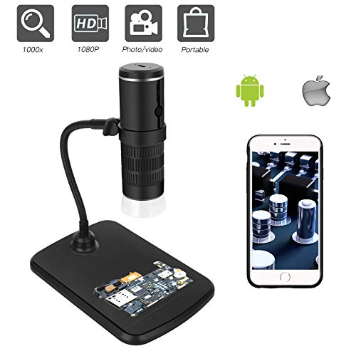 Wireless Digital Microscope 50x to 1000x, 1080P 2MP Magnification Microscope Camera with 8 LED Lights, Compatible with iPhone Android, iPad MAC Windows