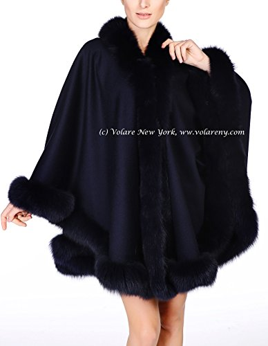 Cashmere Shawl with Fox Fur Trim (navy)