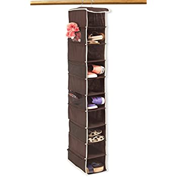 Beau 10 Shelves Hanging Shoes Organizer Holder For Closet W/ 10 Pockets, Brown