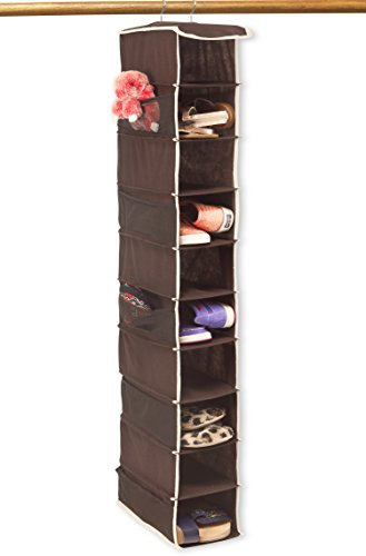 10 Shelves Hanging Shoes Organizer Holder for Closet w/ 10 Pockets, Brown