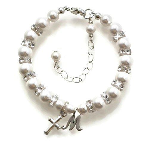 Baptism Bracelet, Baby Bracelets, Sterling Silver, Personalized Jewelry, Christening Gifts, Baby Gifts, Swarovski Pearl Baby Bracelet, Flower Girl Bracelet