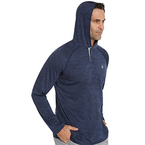(Three Sixty Six Mens Hoodies Pullover - Long Sleeve Casual Hoodie for Men - Lightweight Thin Hooded Sweater T Shirt Midnight Blue)