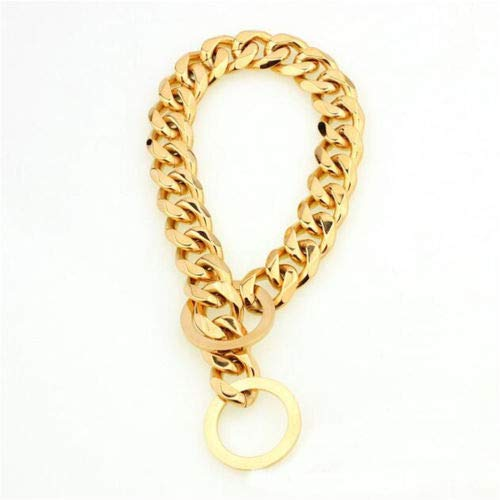 "28"" Advise For Dog Neck 24\ FidgetGear 15mm Pet Collar Big gold Plated Curb Link 316L Stainless Steel Dog Chain12-34'' 28  Advise for Dog Neck 24"