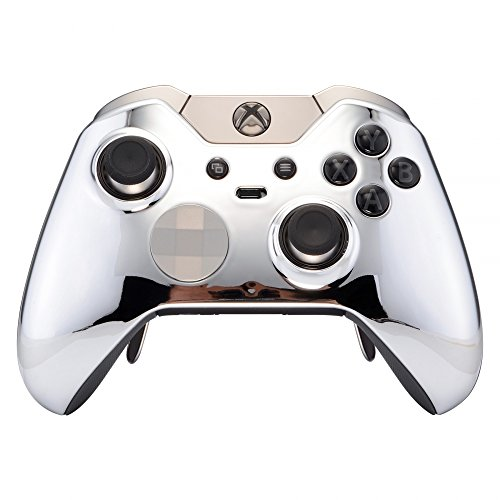 eXtremeRate Chrome Silver Replacement Faceplate Front Housing Shell with Thumbstick Accent Rings for Xbox One Elite Remote Controller Model 1698 - Controller NOT Included