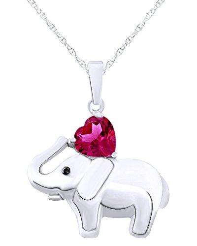 Wishrocks 14K White Gold Over Sterling Silver Elephant Pendant Necklace