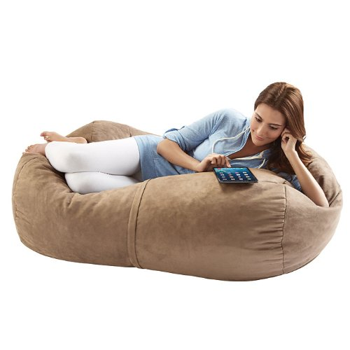 Jaxx Sofa Saxx 4-foot Bean Bag Lounger, Camel Microsuede by Jaxx