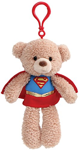 GUND DC Universe Fuzzy Bear Supergirl Plush Backpack Clip, 6.5