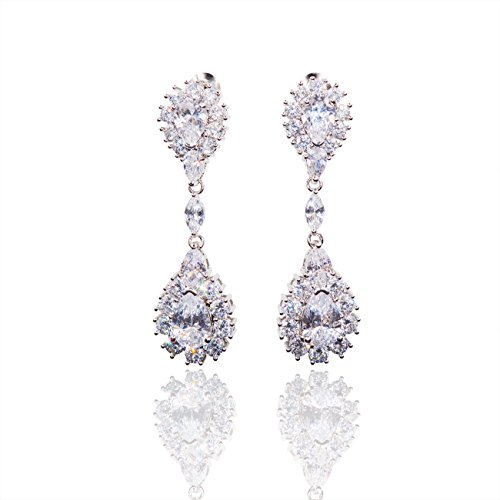 Hanie Bride Jewelry Drop Dangle Earrings Silver Tone White Pear Round Zircon (White Zircon Pear)