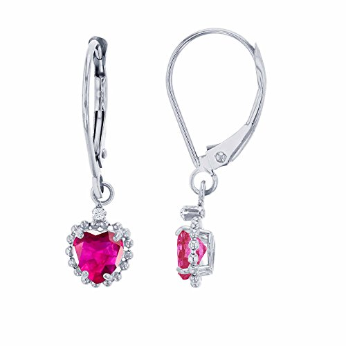 14K White Gold 1.25mm Round White Topaz & 5mm Heart Created Ruby Bead Frame Drop Leverback Earring
