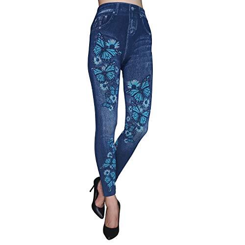 Sunnyy Women's High Waist Skinny Jeans Leggings Look Printed Stretch ()