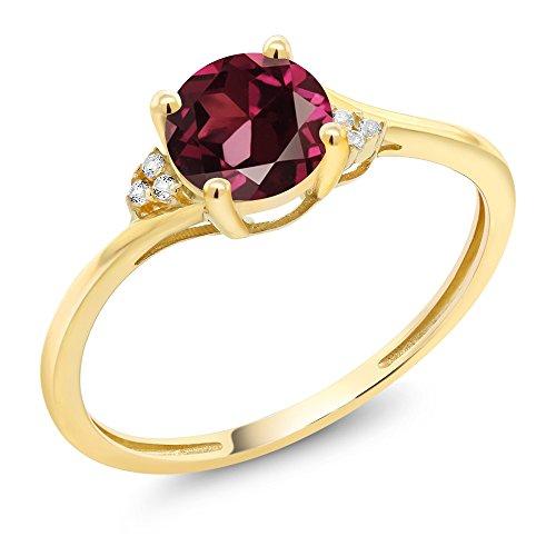 10K Yellow Gold Diamond Accent Engagement Ring Set with 6mm 1.05 Ct Round Red Rhodolite Garnet (Available in size 5, 6, 7, 8, - Rhodolite Garnet Accents