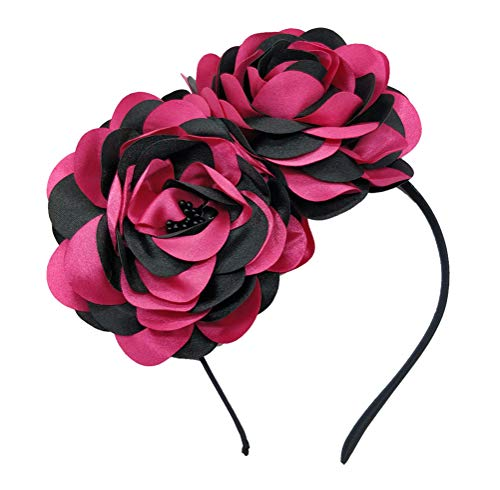 Vintage Elegant Flower Fascinator Hair Clip Headband (CD Black Rose red Fuschia)