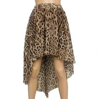 Women Leopard Print Semi Sheer Asymmetrical Skirt Coffee S