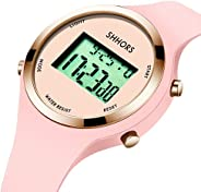 Watch,Pink Girls Digital Jelly Watch,Sports Elegant Simple Cute Wrist Watches with Alarm Outdoor LED Functiona