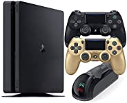 Playstation 4 Slim 1TB Console with Black and Gold Wireless Controller and Mytrix DS4 Fast Charging Dock