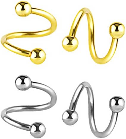 Assorted Stainless Steel Twist Bar Ear Plug Ball Earring Spiral Helix Tragus Stud Body Piercing Jewelry