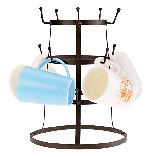 Etuoji 3 Tier Mug Drying Rack Retro Rustic Brown Iron Cup Gl