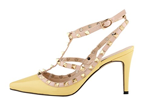 Women's Metal Studs Classic Strap Stiletto Pointy Toe Sandals High Heel Shoes Yellow Patent PU UntIBW