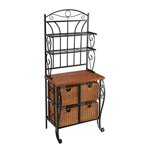 Black Iron Wicker Baker'S Rack Kitchen 4 Basket Storage O...