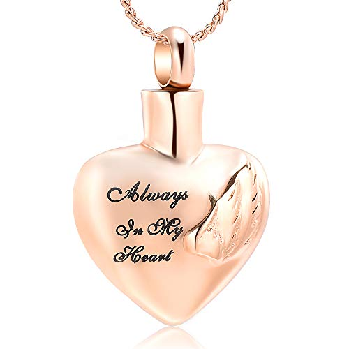 - Imrsanl Cremation Jewelry for Ashes Pendant Always in My Heart Urn Necklace for Women/Men Stainless Steel Angel Wings Memorial Keepsake Jewelry- Free Fill Kits (Rose Gold)