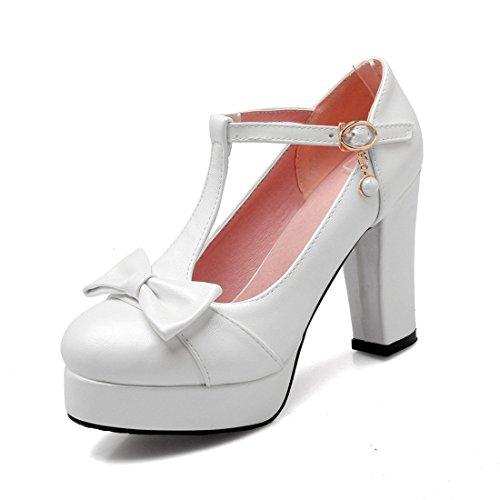 Lady shoe DEDE bow waterproof single Sandalette high heel White high super super table sweet shoe FAwwqxT