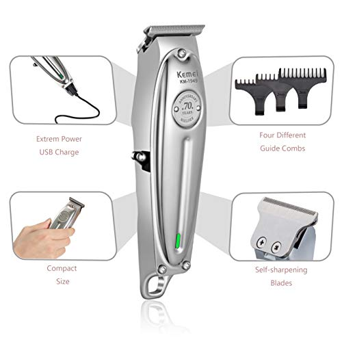 Kemei Professional Beard/Hair Trimmer with 0mm Bald Blade Hair Clippers for Men Stylists and Barbers Cordless Rechargeable Quiet