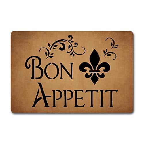 (Msimplism.D Entrance Floor Mat Funny Doormat Bon Appetit Monogram Doormats Funny Door Mat Machine Washable Rug 30(L) x 18(W) inch )