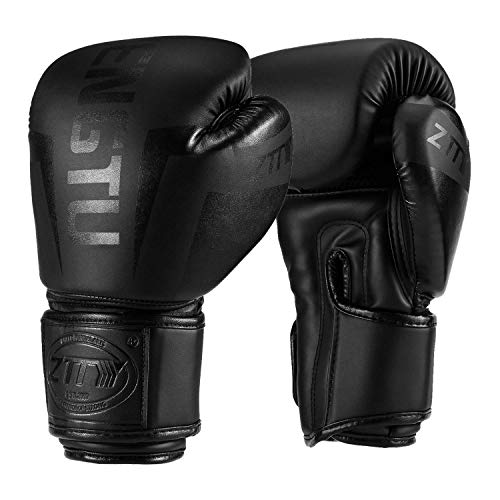 ZTTY Sports Boxing Gloves PU Leather Kickboxing Muay Thai Punching Bag Mitts MMA Pro Grade Sparring Training Fight Gloves for Men & Women (Black, ()