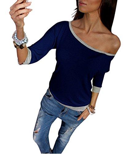 Maniche 4 Sottile Tops Autunno Maglietta Blouse Elegante Camicie E Donna Miracleoccur Bluse Casual Navy Moda Primavera Blu Colore Nuda 3 Cucitura Spalla 7q0fnwv