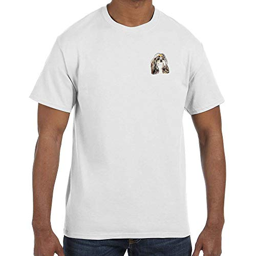 (Cherrybrook Dog Breed Embroidered Mens T-Shirts - Large - White - Shih Tzu)
